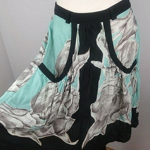 Anthropologie Lil sheer a line silk skirt